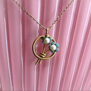 Vintage Blue Enamel & Pearl Necklace by Krementz